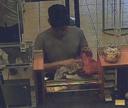 Bank security camera photo of robbery