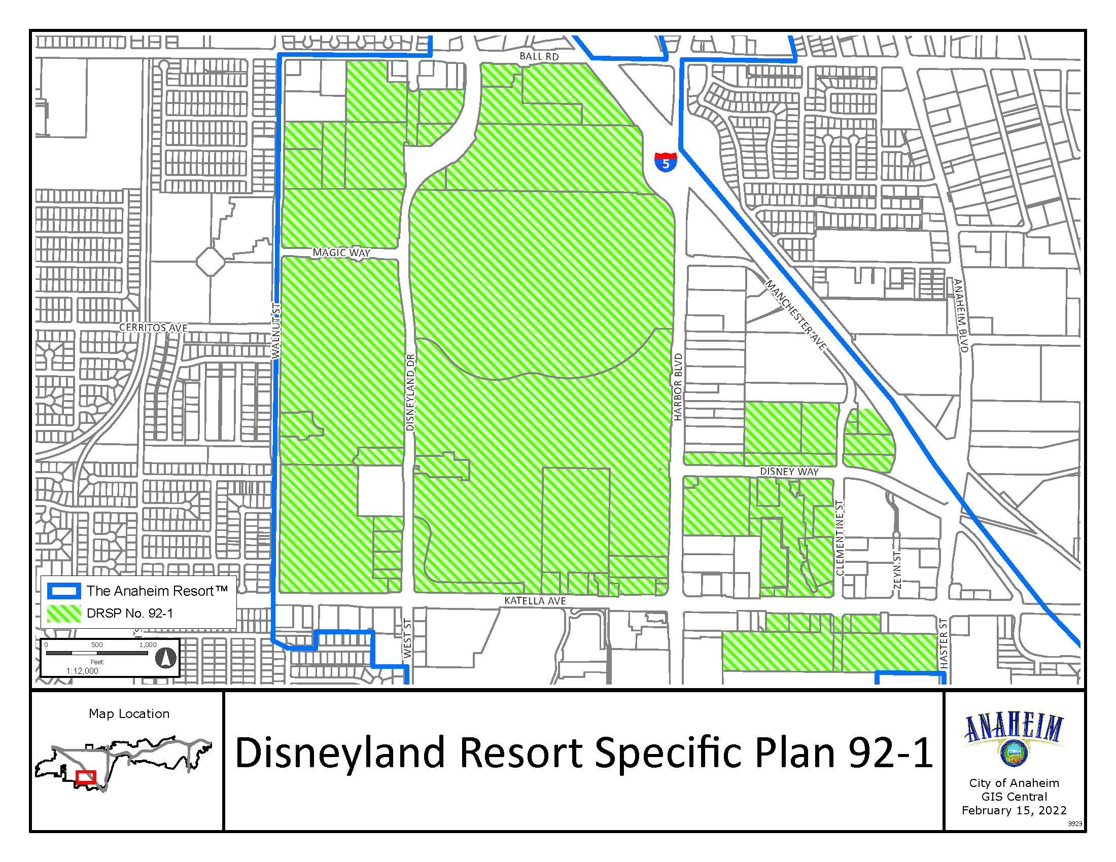 Disneyland Resort Specific Plan 92-1 Map Image