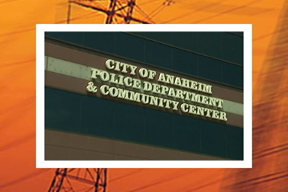 "Inside of building with text ""City of Anaheim Police Department & Community Center"" on wall"