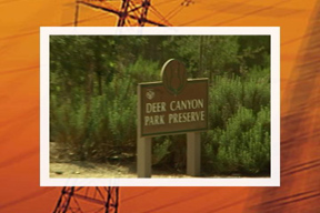 Wooden sign with &#34Deer Canyon Park Preserve&#34 text