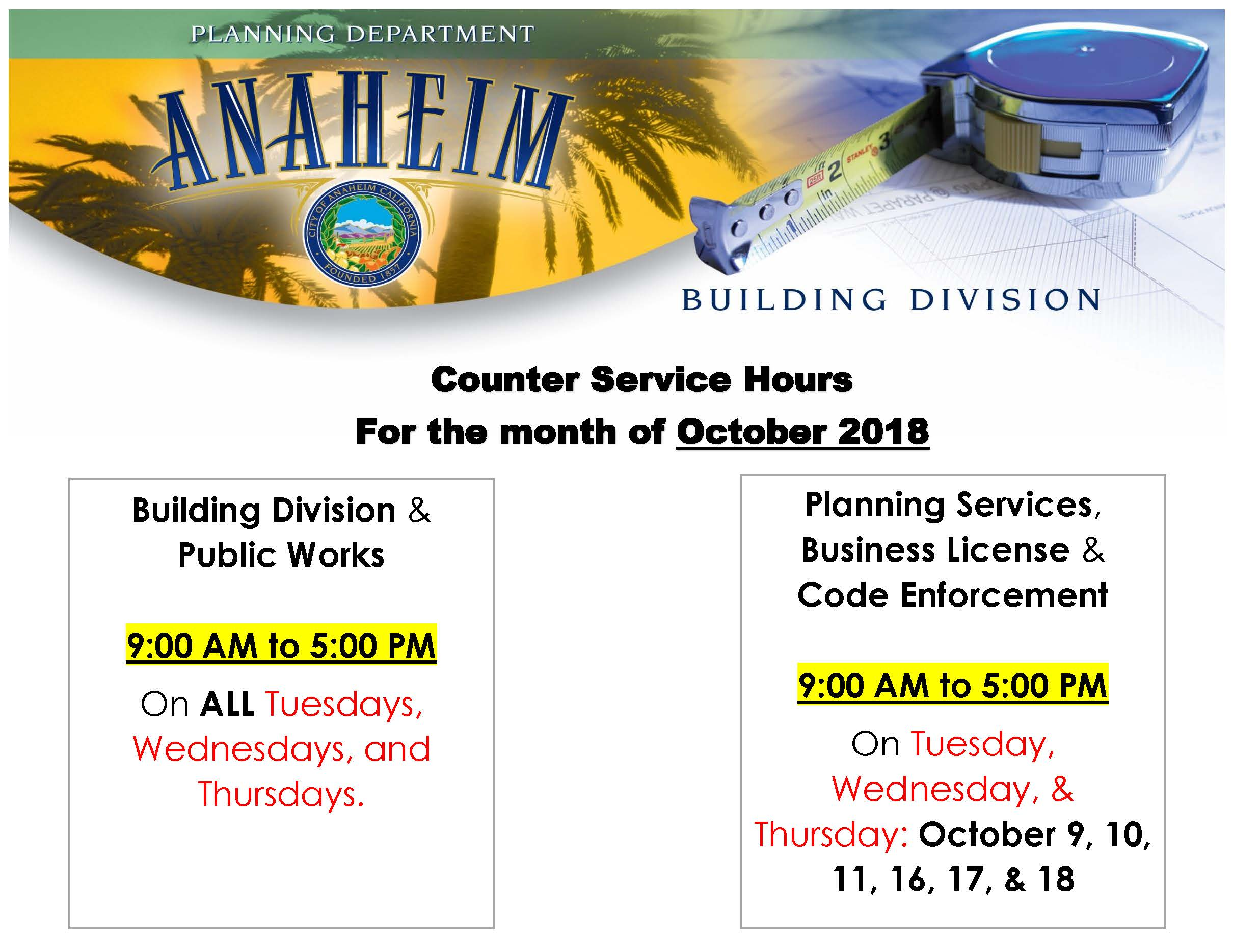 Counter Service Hours