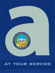 Large lowercase &#34a&#34 with Anaheim city seal and text &#34At Your Service&#34