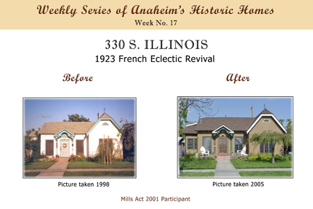 Weekly Series of Anaheim's Historic Homes, Week Number 17, 330 South Illinois, 1923 French Eclectic Revival