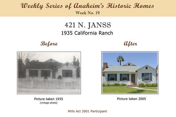 Weekly Series of Anaheim's Historic Homes, Week Number 19, 421 North Janss, 1935 California Ranch