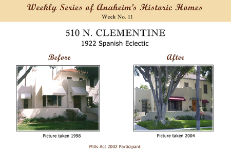 Weekly Series of Anaheim's Historic Homes, Week Number 11, 510 N. Clementine, 1922 Spanish Eclectic