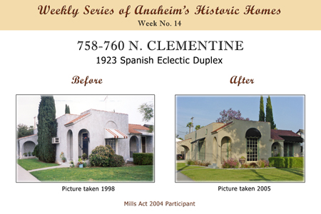 Weekly Series of Anaheim's Historic Homes, Week Number 14, 758-760 North Clementine, 1923 Spanish Eclectic Duplex