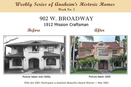 Weekly Series of Anaheim's Historic Homes, Week Number 3, 902 West Broadway, 1912 Mission Craftman