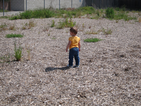 Little girl walking through the empty lot