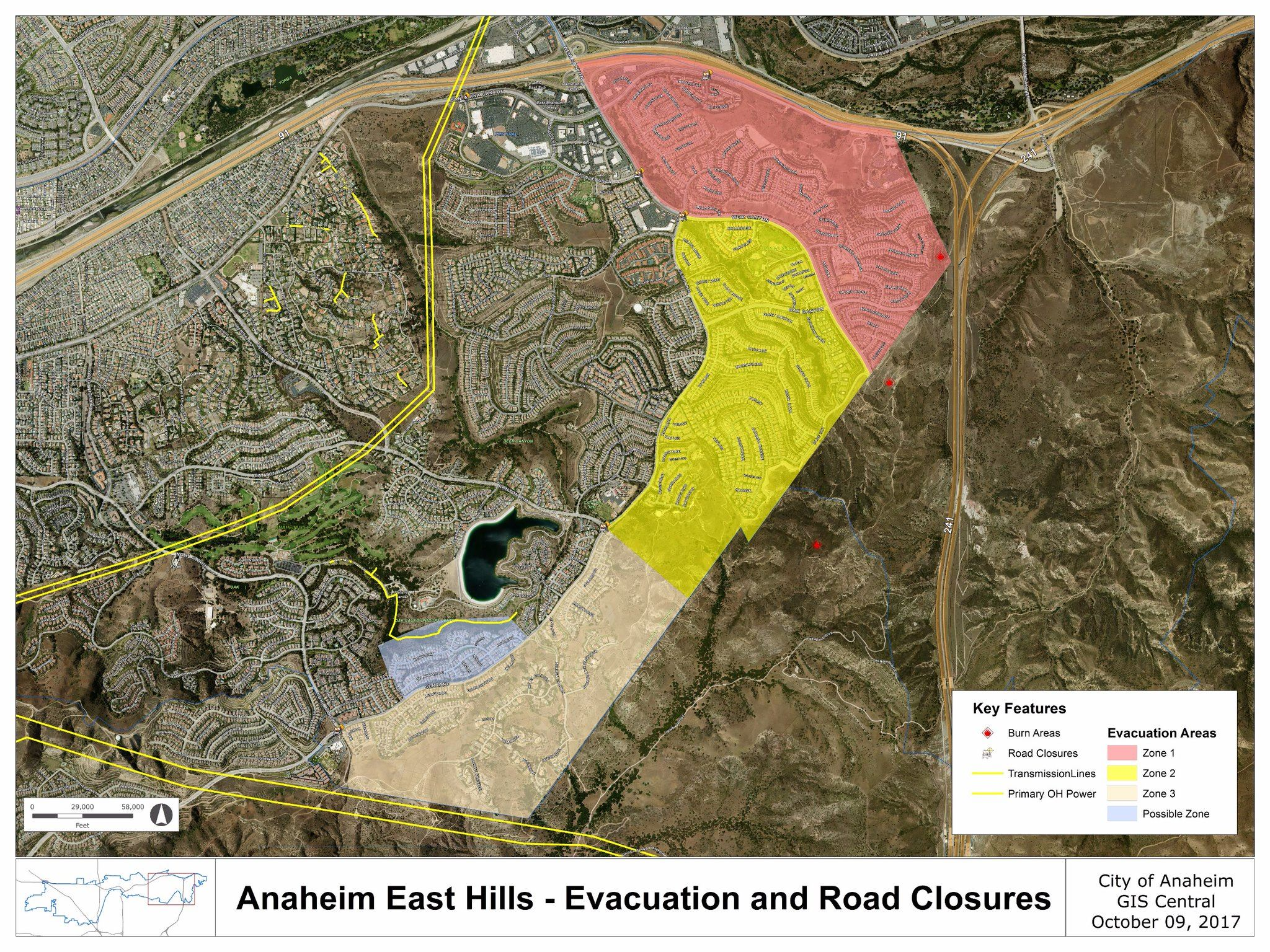 Evacuation and Road Closures Map