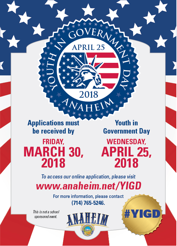 2018 Youth in Government Day Flyer