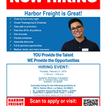 Harbor Freight Tools Hiring Flyer