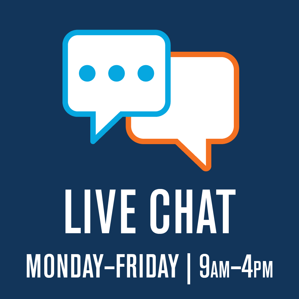 Live Chat  M-F  9 AM to 4 PM