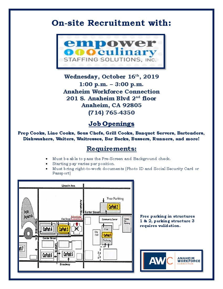 Empower Culinary Staffing Flyer 10.16.19