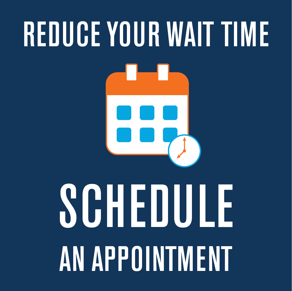 Schedule an in-person appointment with us