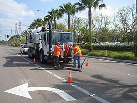 Public Works staff working on a street
