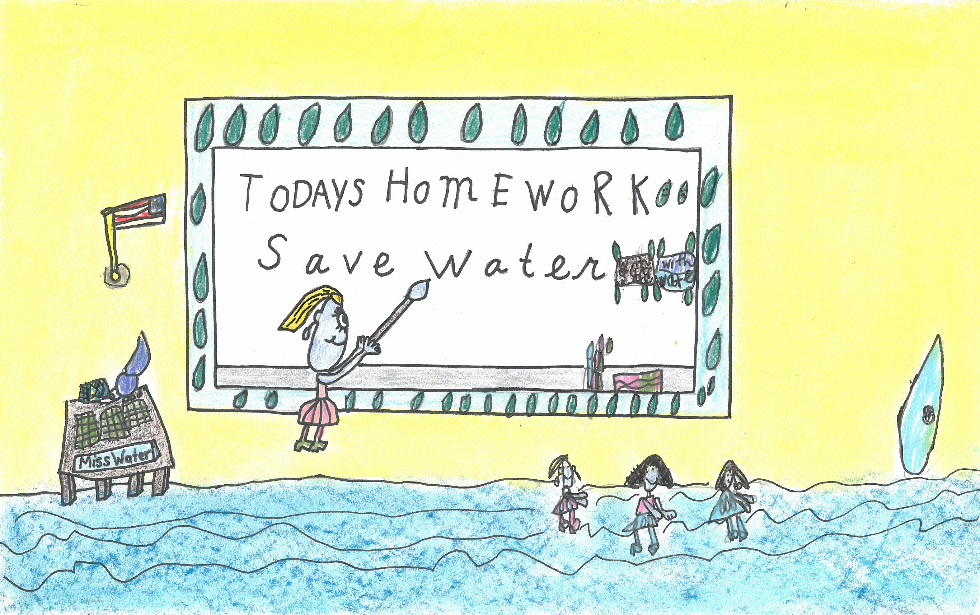 Nature poster drawing of kids in a water classroom