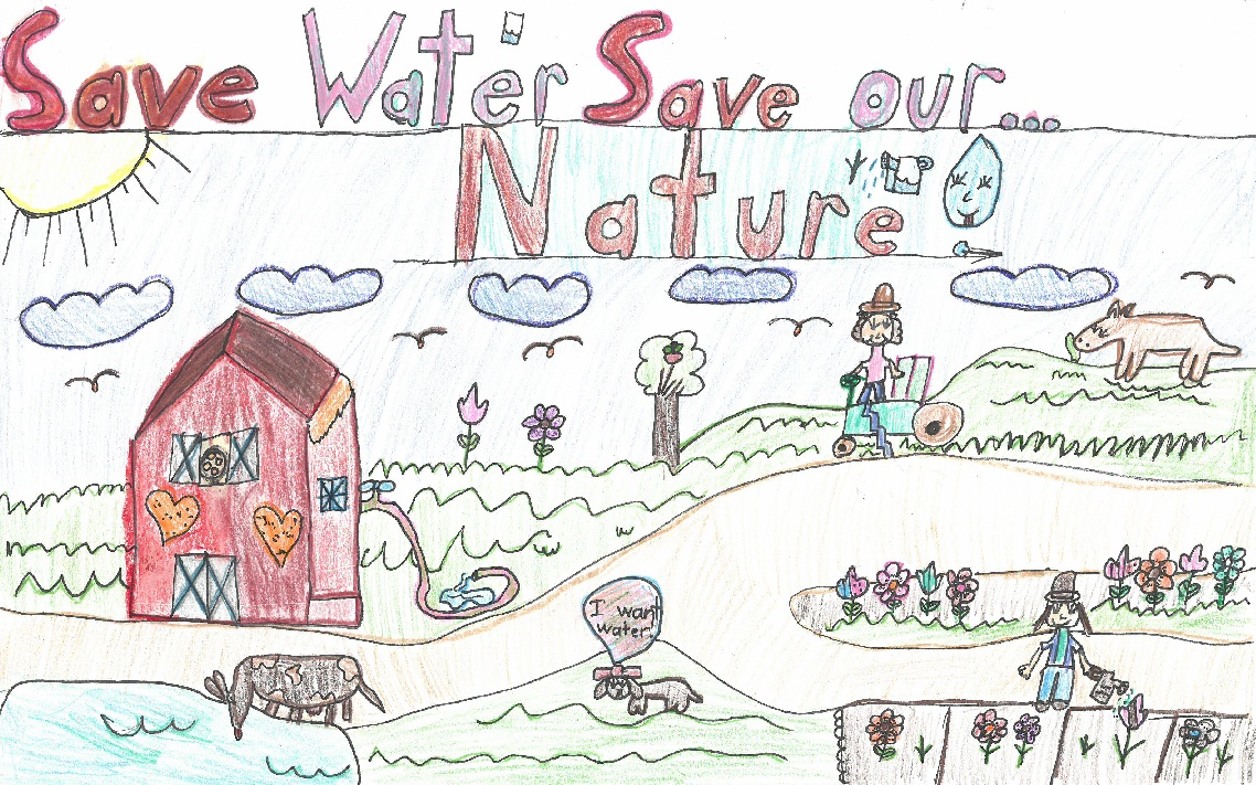 Poster drawing of farm with text save water save our