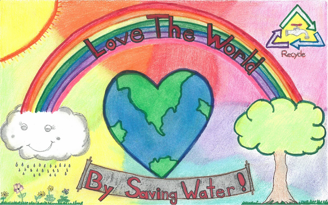 Poster drawing with rainbow and heart shaped earth