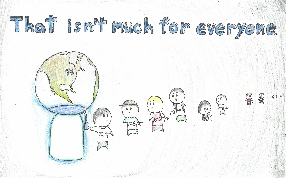 Poster drawing of line of kids taking water from earth themed water cooler
